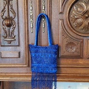 Handbags - Little formal dress purse beaded blue.